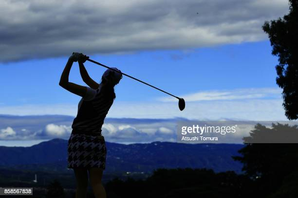 JaeEun Chung of South Korea hits her tee shot on the 9th hole during the second round of Stanley Ladies Golf Tournament at the Tomei Country Club on...