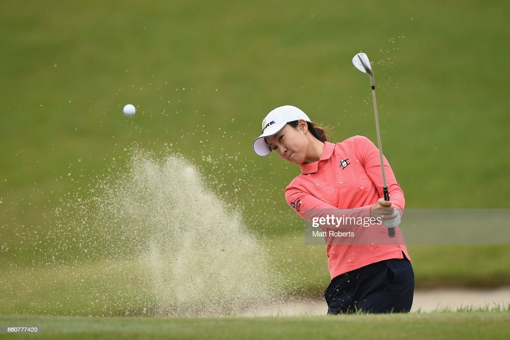 Jae-Eun Chung of South Korea hits out of the 2nd green bunker during the first round of the Fujitsu Ladies 2017 at the Tokyu Seven Hundred Club on October 13, 2017 in Chiba, Japan.