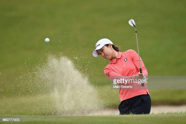 JaeEun Chung of South Korea hits out of the 2nd green bunker during the first round of the Fujitsu Ladies 2017 at the Tokyu Seven Hundred Club on...
