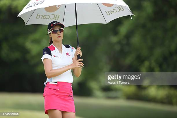 JaeEun Chung of South Korea looks on during the final round of the Chukyo Television Bridgestone Ladies Open at the Chukyo Golf Club Ishino Course on...