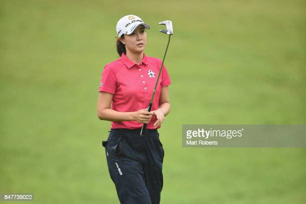 JaeEun Chung of South Korea reacts after her putt on the 18th green during the second round of the Munsingwear Ladies Tokai Classic 2017 at the Shin...