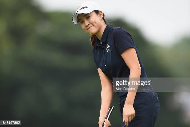 JaeEun Chung of South Korea reacts after her putt on the first green during the final round of the Munsingwear Ladies Tokai Classic 2017 at the Shin...