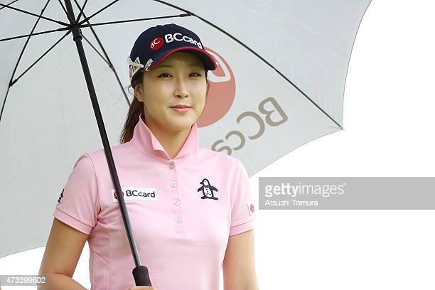 JaeEun Chung of South Korea smiles during the first round of the HokennoMadoguchi Ladies at the Fukuoka Country Club Ishino Course on May 15 2015 in...