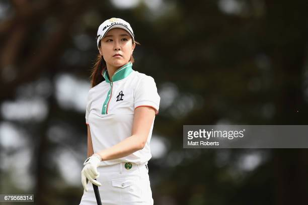 JaeEun Chung of South Korea watches her tee shot on the 13th hole during the third round of the World Ladies Championship Salonpas Cup at the Ibaraki...
