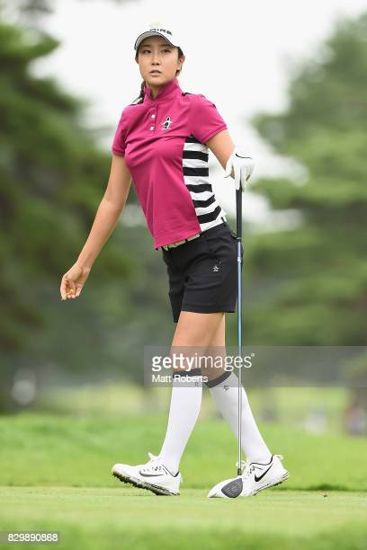 JaeEun Chung of South Korea watches her tee shot on the 4th hole during the first round of the NEC Karuizawa 72 Golf Tournament 2017 at the Karuizawa...