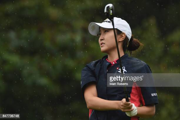 JaeEun Chung of South Korea watches her tee shot on the 6th hole during the second round of the Munsingwear Ladies Tokai Classic 2017 at the Shin...
