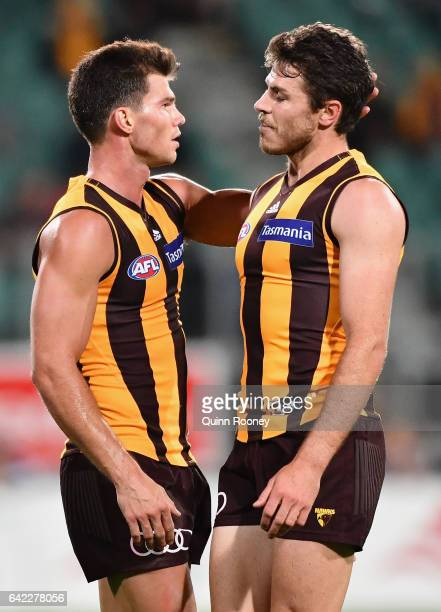 Jaeger O'Meara and Isaac Smith of the Hawks talk during the 2017 JLT Community Series match between the Hawthorn Hawks and the Geelong Cats at...