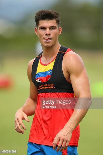 Jaeger O'Meara looks on during a Gold Coast Suns AFL training session at Metricon Stadium on March 25 2014 in Gold Coast Australia