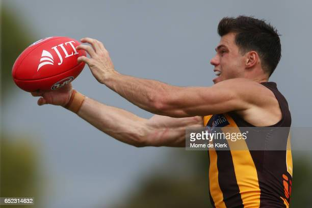 Jaeger O'Meara of the Hawks takes a mark during the JLT Community Series match between the Port Adelaide Power and the Hawthorn Hawks at Hickinbotham...