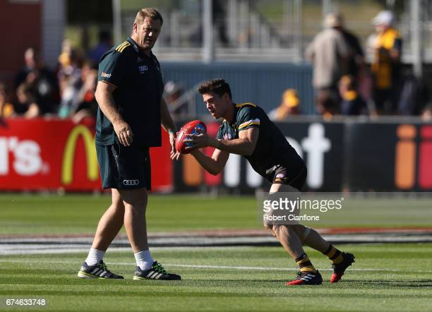 Jaeger O'Meara of the Hawks warms up before the round six AFL match between the Hawthorn Hawks and the St Kilda Saints at University of Tasmania...