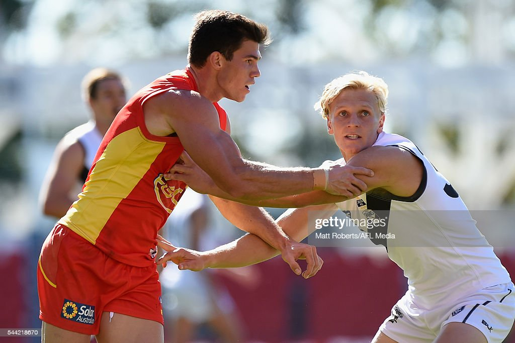 Jaeger O'Meara of the Suns competes for the ball during the NEAFL match between the Gold Coast Suns and the Southport Sharks at Metricon Stadium on July 2, 2016 in Gold Coast, Australia.