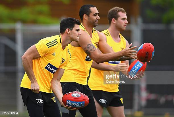 Jaeger O'Meara Shaun Burgoyne and Tom Mitchell of the Hawks handball during a Hawthorn Hawks AFL preseason training session at Waverley Park on...