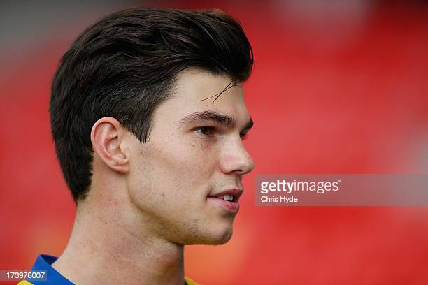Jaeger O'Meara speaks to media during a Gold Coast Suns AFL training session at Metricon Stadium on July 19 2013 in Gold Coast Australia