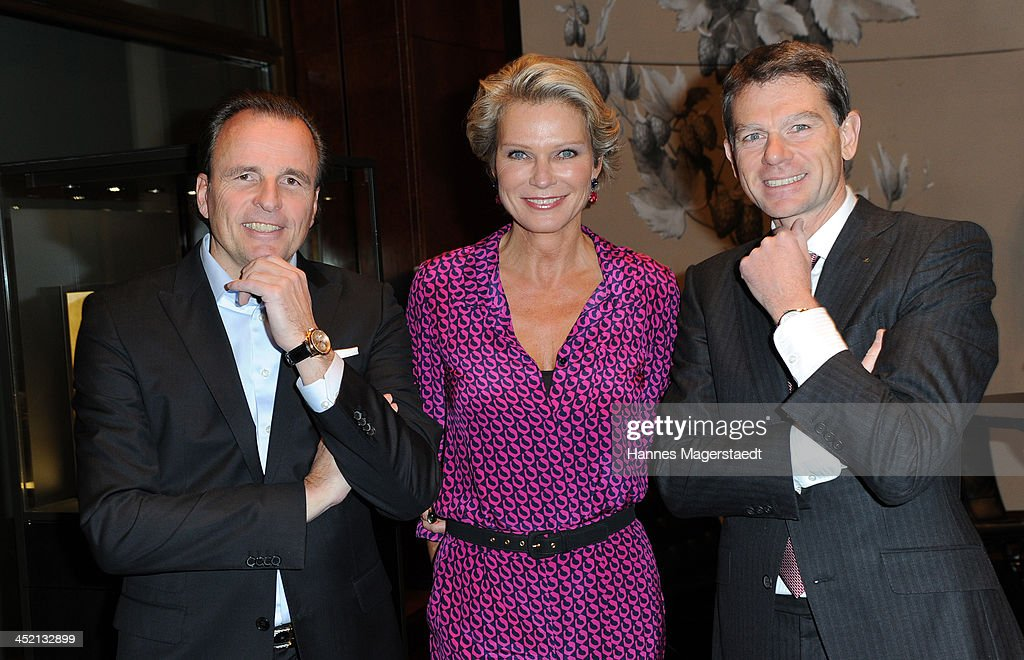 Jaeger-LeCoultre General Manager Northern Europe Juergen Bestian, <a gi-track='captionPersonalityLinkClicked' href=/galleries/search?phrase=Stephanie+von+Pfuel&family=editorial&specificpeople=4124345 ng-click='$event.stopPropagation()'>Stephanie von Pfuel</a> and Stephane Belmont and attend Jaeger-LeCoultre Cocktail at Charles hotel on November 26, 2013 in Munich, Germany.