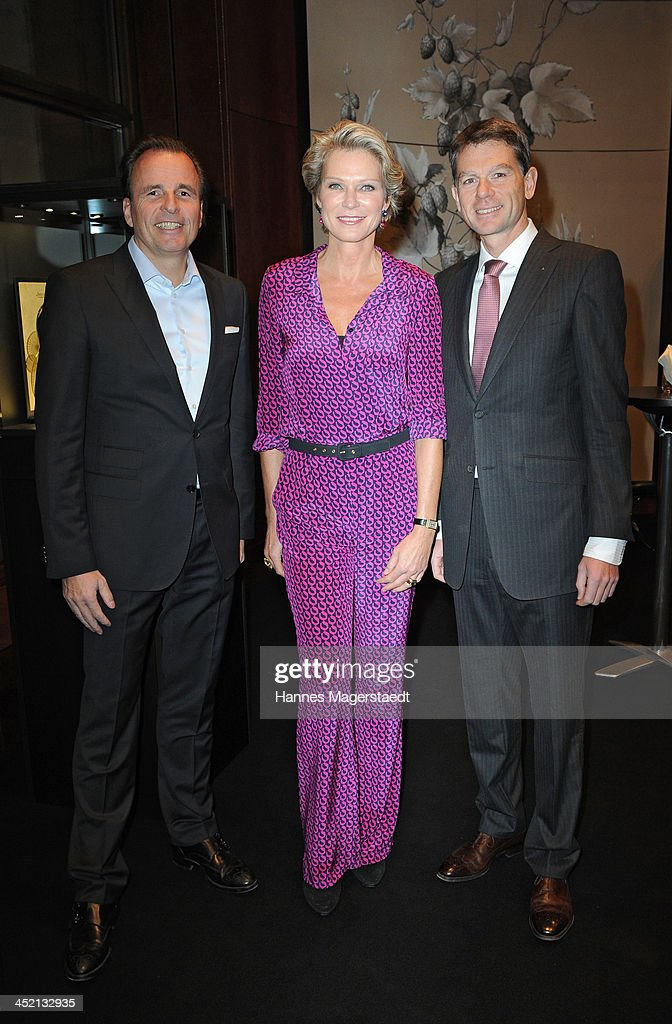 Jaeger-LeCoultre General Manager Northern Europe Juergen Bestian, <a gi-track='captionPersonalityLinkClicked' href=/galleries/search?phrase=Stephanie+von+Pfuel&family=editorial&specificpeople=4124345 ng-click='$event.stopPropagation()'>Stephanie von Pfuel</a> and Stephane Belmont attend Jaeger-LeCoultre Cocktail at Charles hotel on November 26, 2013 in Munich, Germany.