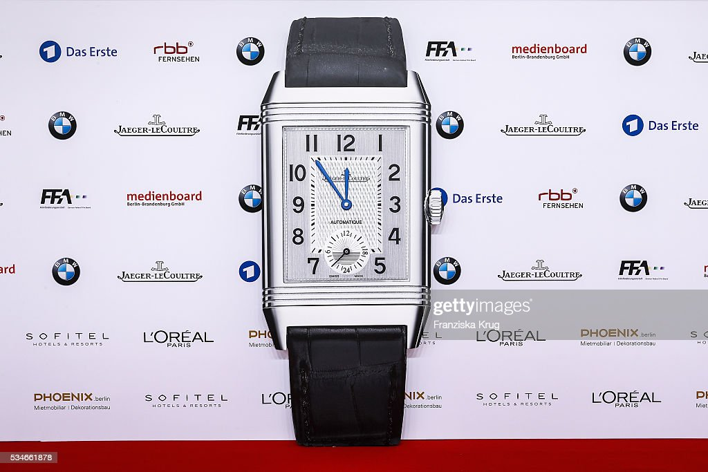 A Jaeger-LeCoultre watch is seen at the Lola - German Film Award (Deutscher Filmpreis) red carpet on May 27, 2016 in Berlin, Germany.