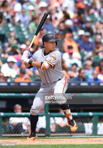 JaeGyun Hwang of the San Francisco Giants bats during the game against the Detroit Tigers at Comerica Park on July 6 2017 in Detroit Michigan The...