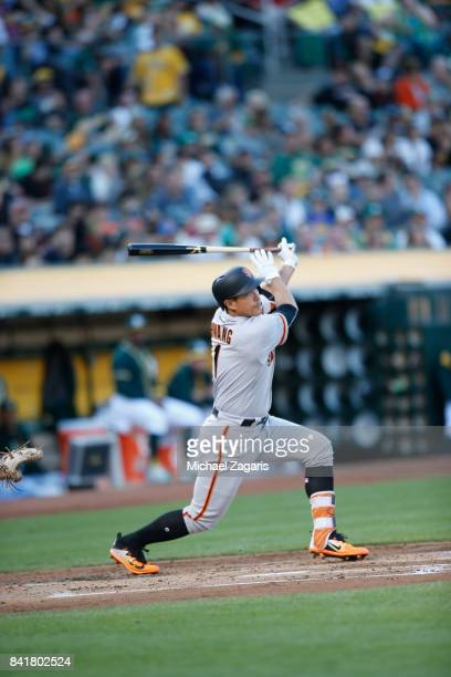 JaeGyun Hwang of the San Francisco Giants bats during the game against the Oakland Athletics at the Oakland Alameda Coliseum on August 1 2017 in...