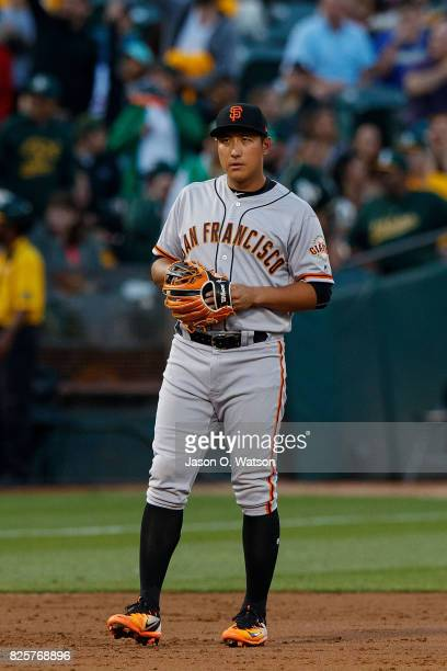 JaeGyun Hwang of the San Francisco Giants stands on the field during the third inning against the Oakland Athletics at the Oakland Coliseum on July...