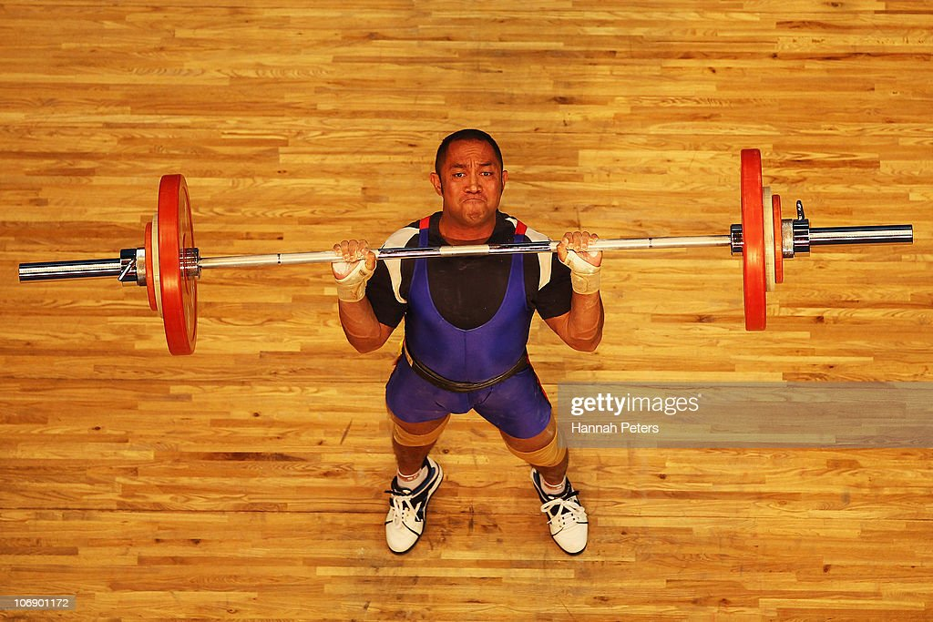 Jaeinto Barros of Timor-Leste competes in the Men's Weightlifting 77kg competition during day four of the 16th Asian Games Guangzhou 2010 at Dongguan Gymnasium on November 16, 2010 in Guangzhou, China.