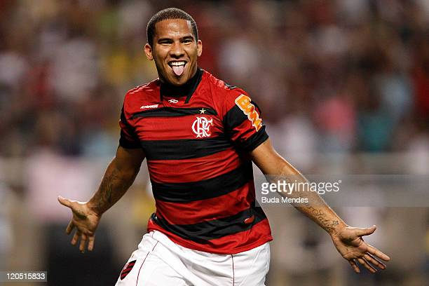 Jael of Flamengo celebrates a scored goal againist Coritiba during a match as part of Serie A 2011 at Engenhao stadium on August 06 2011 in Rio de...