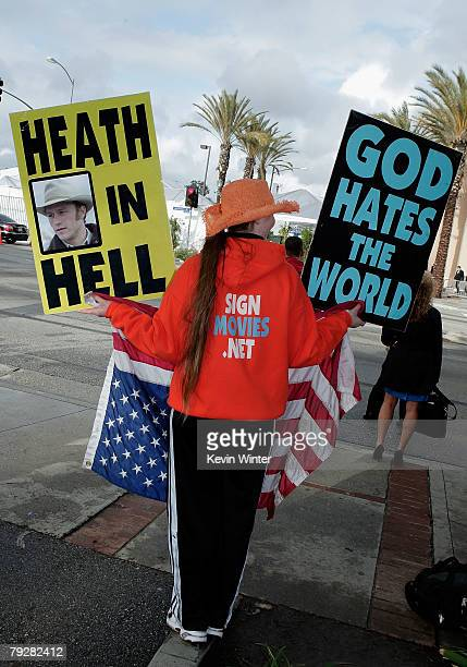 Jael Phelps a member of the Kansasbased Westboro Baptist Church protests during the 14th annual Screen Actors Guild awards outside the Shrine...
