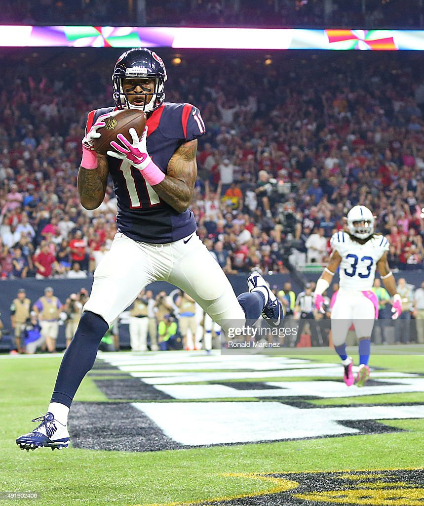 <a gi-track='captionPersonalityLinkClicked' href=/galleries/search?phrase=Jaelen+Strong&family=editorial&specificpeople=11339116 ng-click='$event.stopPropagation()'>Jaelen Strong</a> #11 of the Houston Texans catches a touchdown pass against the Indianapolis Colts in the third quarter on October 8, 2015 at NRG Stadium in Houston, Texas.