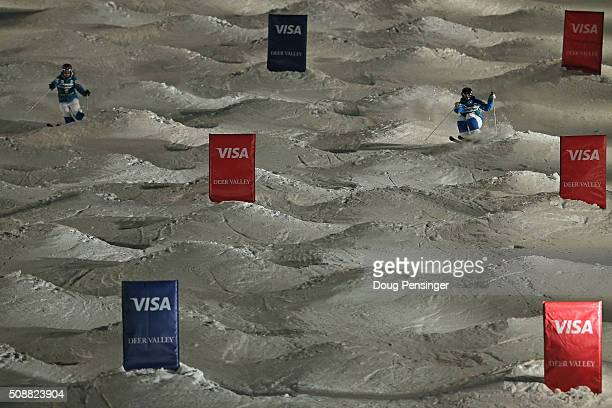 Jaelin Kauf skis to third place against teammate Mikaela Matthews in fourth place in the small final of the ladies' FIS Freestyle Skiing Dual Moguls...