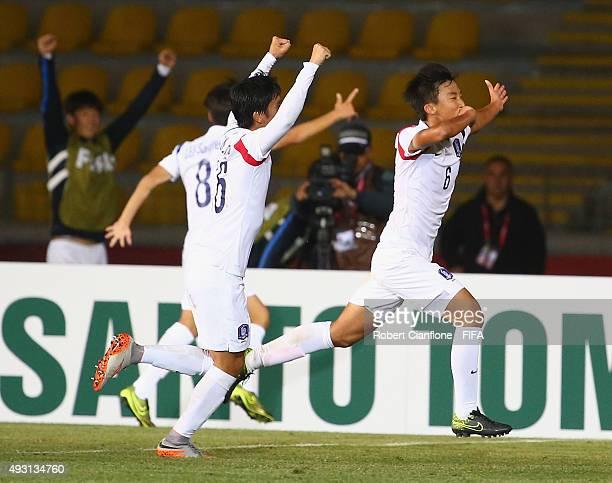 Jaewon Jang of Korea Republic celebrates after scoring a goal during the FIFA U17 World Cup Group B match between Brazil and the Korea Republic at...