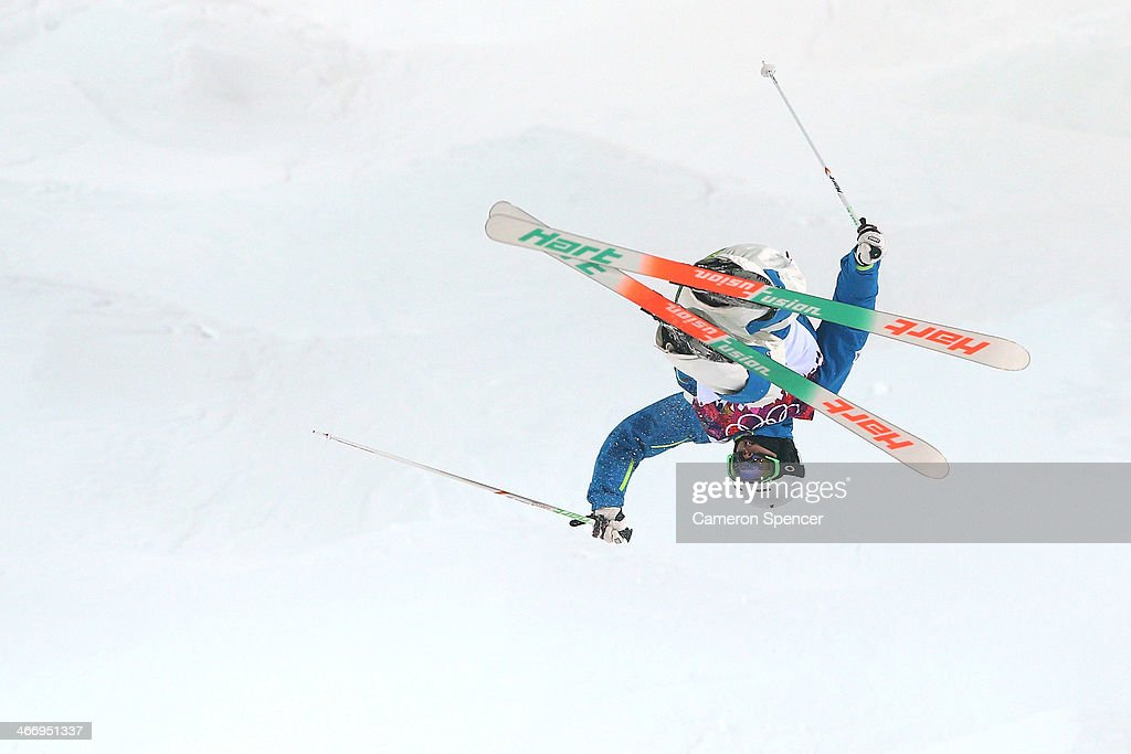 Jae-Woo Choi of Korea trains during moguls practice at the Extreme Park at Rosa Khutor Mountain ahead of the Sochi 2014 Winter Olympics on February 5, 2014 in Sochi, Russia