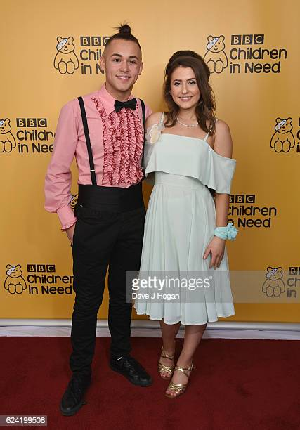 Jafargholi Shaheen and Jasmine Armfield show support for BBC Children in Need at Elstree Studios on November 18 2016 in Borehamwood United Kingdom