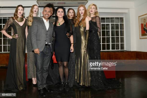 Jafpreet and Raul Penaranda attend the Raul Penaranda presentation during New York Fashion Week at The Society Of Ilustrators on February 10 2017 in...