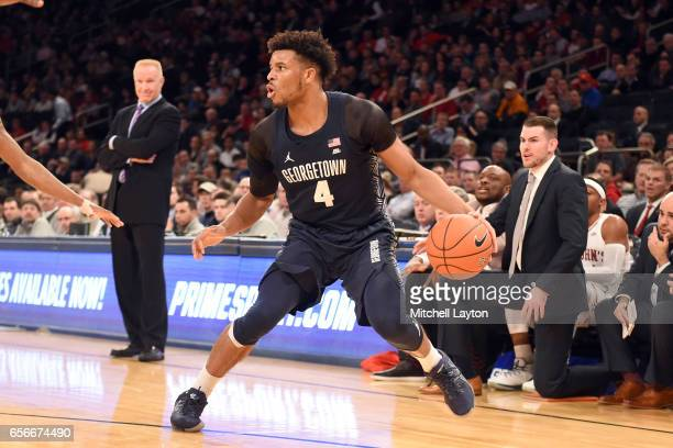 Jagan Mosely of the Georgetown Hoyas dribbles the ball during the Big East Basketball Tournament First Round game against the St John's Red Storm at...