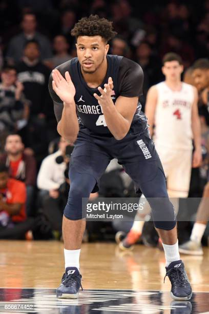 Jagan Mosely of the Georgetown Hoyas looks on during the Big East Basketball Tournament First Round game against the St John's Red Storm at Madison...