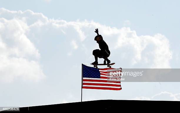 Jagger Eaton warms up for round one of the Skateboard Big Air competitioin during the X Games Austin at Circuit of The Americas on June 6 2014 in...