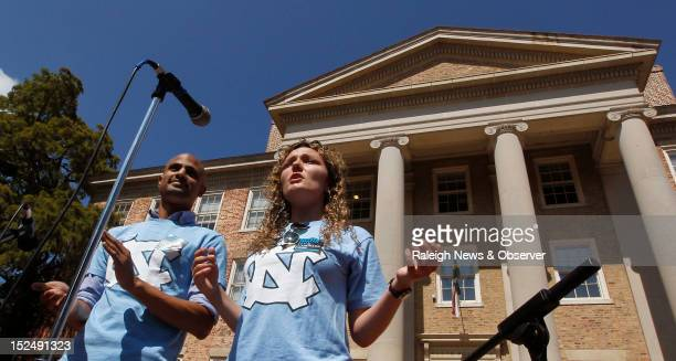 Jagir Patel and Mackenzie Thomas of the UNC Campu Y make remarks supporting University of North Carolina Chancellor Holden Thorp at the South...
