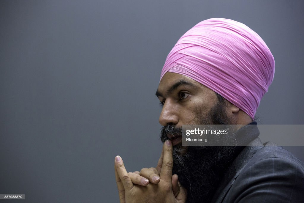 Jagmeet Singh, leader of the New Democratic Party (NDP), pauses while speaking during an interview in Ottawa, Ontario, Canada, on Thursday, Dec. 7, 2017. Singh was elected as the leader of the New Democratic Party on October 1. Photographer: Chris Roussakis/Bloomberg via Getty Images