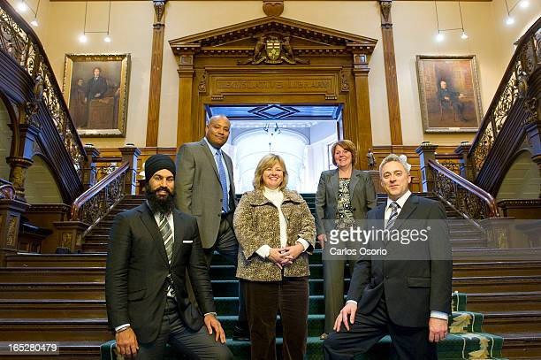 Jagmeet Singh Michael Coteau Lisa Thompson Cindy Forster and Michael Harris are all rookie MPP Posing for a photograph at Queens Park on November 15...