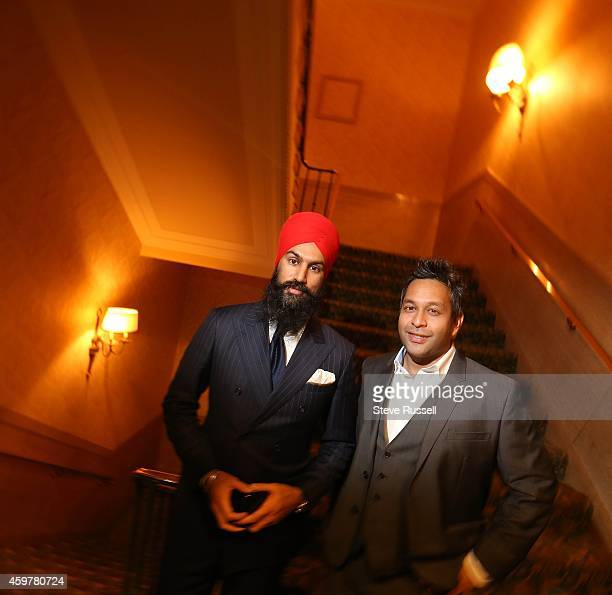 TORONTO ON NOVEMBER 27 Jagmeet Singh MPP Bramlea Gore Malton with Joshua Moraes who is with the federal NDP At the South Asian Bar Association's...