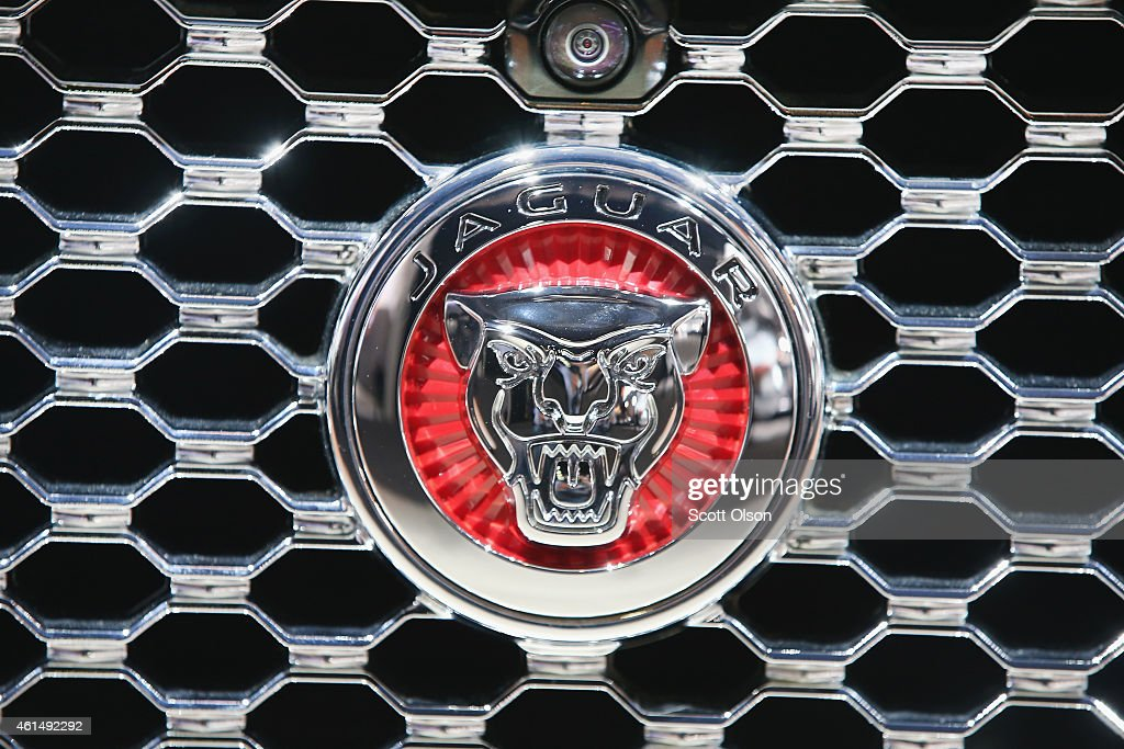 Jaguar badge decorates the grill of the Jaguar XE during the media preview at the North American International Auto Show on January 13 2015 in...