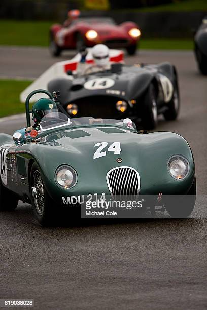 Jaguar Ctype entered and driven by Nigel Webb on the chicane in the wet during the Freddie March Memorial Trophy race at Goodwood on September 10...