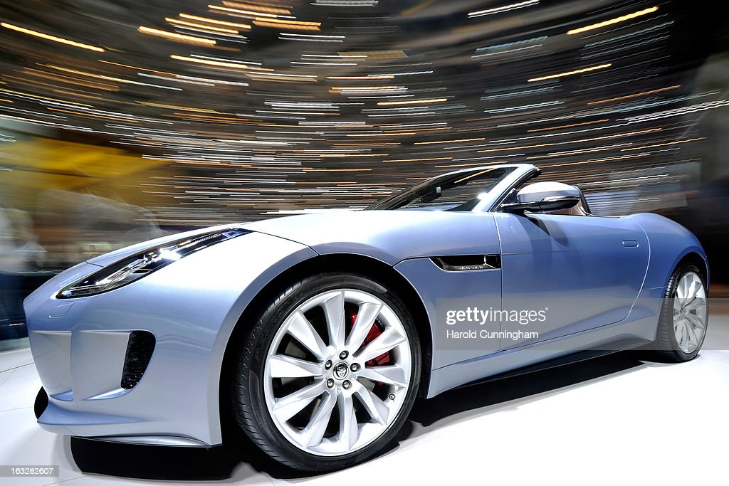 A Jaguar F-Type is seen during the 83rd Geneva Motor Show on March 6, 2013 in Geneva, Switzerland. Held annually with more than 130 product premiers from the auto industry unveiled this year, the Geneva Motor Show is one of the world's five most important auto shows.