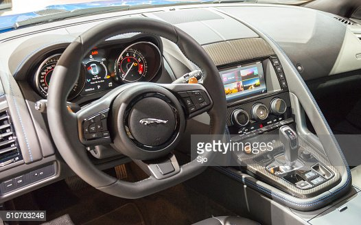 jaguar ftype s coupe sports car interior stock photo getty images. Black Bedroom Furniture Sets. Home Design Ideas