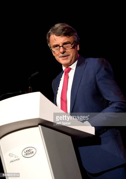 Jaguar Land Rover CEO Dr Ralph Speth speaks at the event Technology with Heart Jaguar Land Rover's Tech Fest at Central St Martins on September 7...