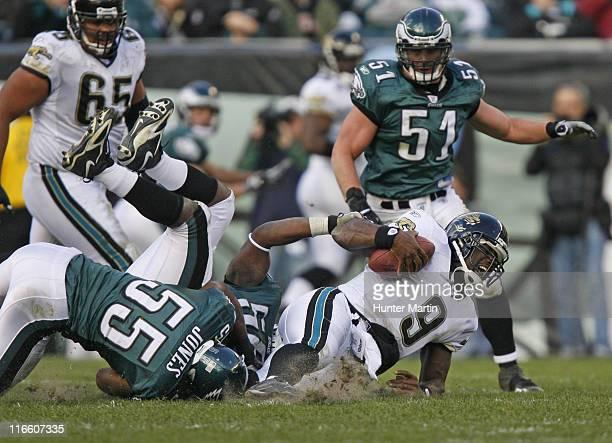 Jaguar quarterback David Garrard is sacked by Eagles linebacker Dhani Jones during the game between the Philadelphia Eagles and the Jacksonville...