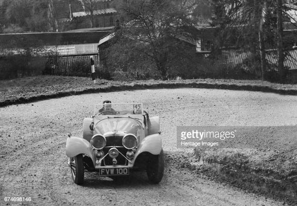 Jaguar SS 100 of CJ Gibson competing in the RAC Rally 1939 Artist Bill Brunell