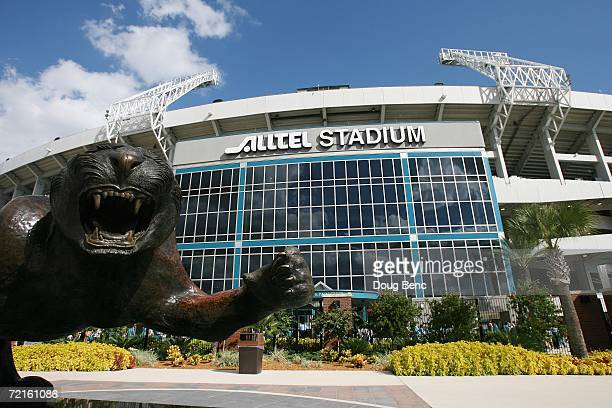 A jaguar statue is shown in front of Alltel Stadium before the Jacksonville Jaguars game against the New York Jets at Alltel Stadium on October 8...