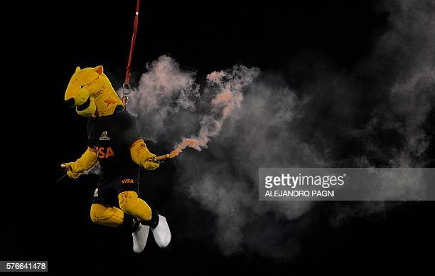 'Jaguardo' the mascot of the Argentina's Jaguares rugby team flies over the field during a perfomance in the half time of their Super Rugby match...