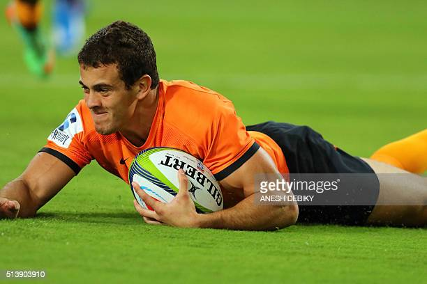 Jaguares' Emilliano Bofelli goes over for the first try during the Super Rugby match between Sharks and Jaguares on March 5 2016 in Durban South...