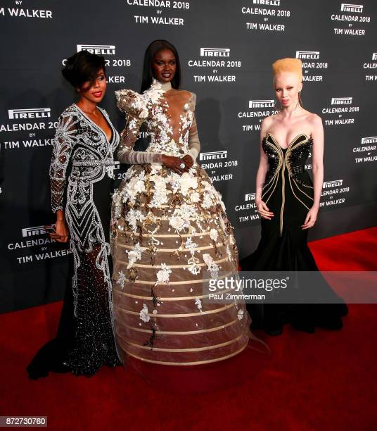 Jaha Dukureh Duckie Thot and Thando Hopa attend Pirelli Calendar 2018 Launch Gala at The Manhattan Center on November 10 2017 in New York City